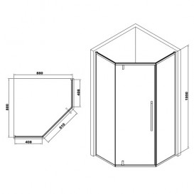 Душевая кабина Eger A Lany 90х90 без поддона профиль алюминий хром прозрачное стекло 599-552/1