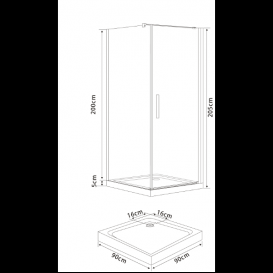 Душевая кабина Eger Rudas 90х90 профиль алюминий хром прозрачное стекло 599-001/1L/R