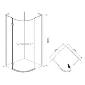 Душевая кабина Eger Timea 90х90 фурнитура алюминий хром стекло прозрачное 599-808 TR/1