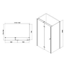 Душевая кабина Volle Libra 120х80 левосторонняя фурнитура алюминий хром стекло прозрачное 10-22-908L