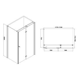 Душевая кабина Volle Libra 120х80 правосторонняя фурнитура алюминий хром стекло прозрачное 10-22-908R