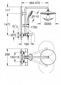 Душевая система Grohe Euphoria 260 с термостатическим смесителем для ванны хром 27475001