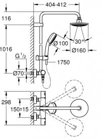 Душевая система с термостатом Grohe Vitalio Comfort хром 26556000