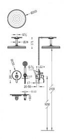 Душевая система скрытого монтажа Tres Tres-Сlasic с однорычажным смесителем сталь 24218004AC