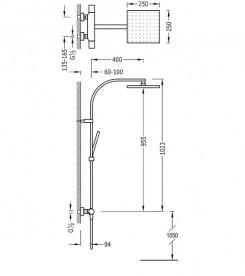 Душевая стойка Tres Class-Tres термостатическая c верхним и ручным душем хром 20539501