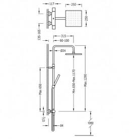 Душевая стойка Tres Class-Tres термостатическая c верхним и ручным душем хром 20538501