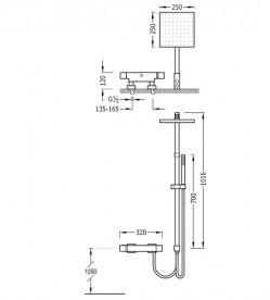 Душевая стойка Tres Cuadro-Tres термостатическая c верхним и ручным душем хром 00738501