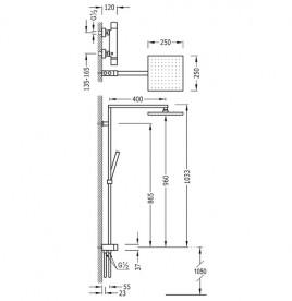 Душевая стойка Tres Cuadro-Tres термостатическая c верхним и ручным душем хром 107964