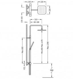Душевая стойка Tres Loft термостатическая c верхним и ручным душем хром 20019501