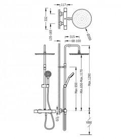 Душевая стойка Tres Max-Tres термостатическая c верхним и ручным душем хром 06121001