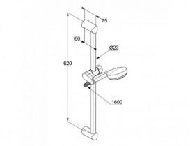 Душевой гарнитур 3S KLUDI LOGO длина штанги 600 мм держатель хромированный пластик 6836305-00