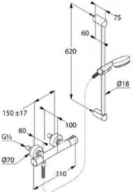 Душевой гарнитур на штанге с термостатом KLUDI LOGO SHOWER DUO латунь/пластик хром 6857605-00