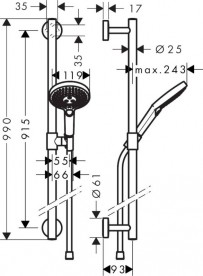 Душевой гарнитур со штангой Hansgrohe коллекция Raindance Select S 3jet 120 мм хром 26322000