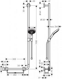 Душевой гарнитур со штангой правосторонний Hansgrohe коллекция Raindance Select S 3jet 120 мм хром 26326000