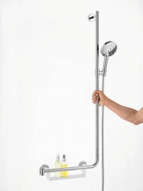 Душевой гарнитур со штангой правосторонний Hansgrohe Raindance Select S EcoSmart 3jet 120 мм хром/белый 26327400