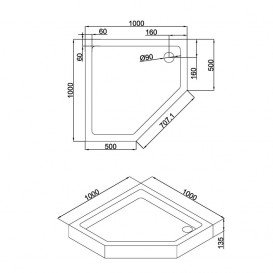Душевой поддон Eger A Lany 100х100 см пятиугольный акрил белый 599-553/2