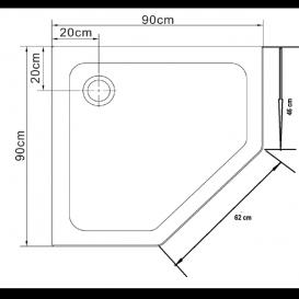 Душевой поддон Eger Stefani 100х100 см пятиугольный акрил белый 599-535-100/2