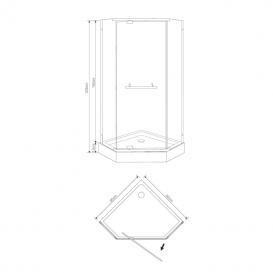 Душевой поддон Eger Talany 90х90 см пятиугольный акрил белый 599-555/2