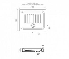 Душевой поддон керамический Catalano Base 90х72 см белый 17290N00