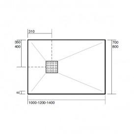 Душевой поддон мраморный Kerasan H2.5 140х80 см антрацит 704154