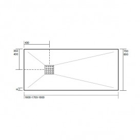 Душевой поддон мраморный Kerasan H2.5 160х80 см антрацит 704254