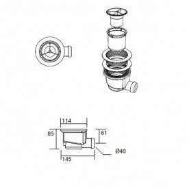 Душевой поддон угловой мраморный Kerasan H2.5 80х80 см антрацит 704554