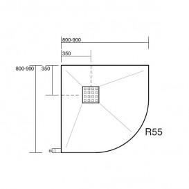 Душевой поддон угловой мраморный Kerasan H2.5 90х90 см антрацит 704654
