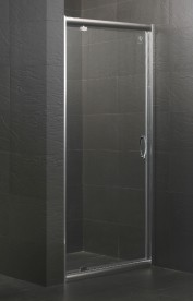 Дверь душевая распашная Eger 80х195 профиль алюминий хром прозрачное стекло 599-150-80(h)