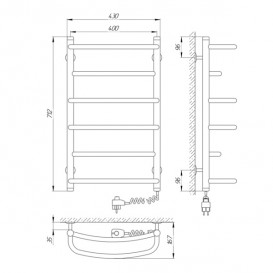 Электрический полотенцесушитель Laris Еврофлеш П6 Э 400x700 мм правый 73207383
