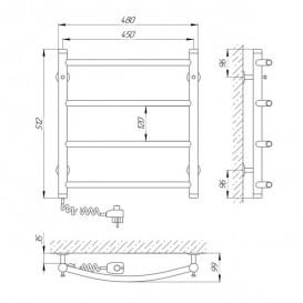 Электрический полотенцесушитель Laris Классик П4 Э 450x500 мм левый 73207044