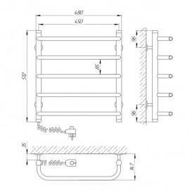 Электрический полотенцесушитель Laris Стандарт П5 Э 450x500 мм левый 73207082