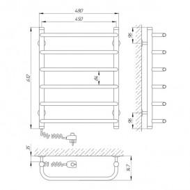 Электрический полотенцесушитель Laris Стандарт П6 Э 450x600 мм левый 73207084