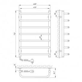 Электрический полотенцесушитель Laris Стандарт П7 Э 450x700 мм левый 73207086