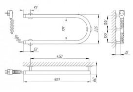 Электрический полотенцесушитель Laris Змеевик 25 РС1 Э 500х200 мм левый 73207187