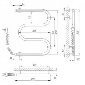 Электрический полотенцесушитель Laris Змеевик 25 РС3 Э 400x500 мм левый 73207104