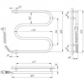 Электрический полотенцесушитель Laris Змеевик 25 РС3 Э 500x500 мм левый 73207108