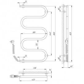 Электрический полотенцесушитель Laris Змеевик 25 РС5 Э 400x800 мм левый 73207120