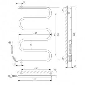 Электрический полотенцесушитель Laris Змеевик 25 РС5 Э 500x800 мм левый 73207124