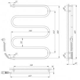 Электрический полотенцесушитель Laris Змеевик 25 РС5 Э 600x800 мм левый 73207128
