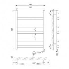 Электрический полотенцесушитель Laris Зебра Атлант ЧК6 Э 500x700 мм правый 73207409