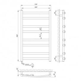 Электрический полотенцесушитель Laris Зебра Атлант ЧК8 Э 500x900 мм левый 73207410