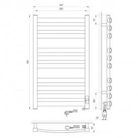 Электрический полотенцесушитель Laris Зебра Атлант Премиум ЧК10 Э 500x900 мм правый 75201084