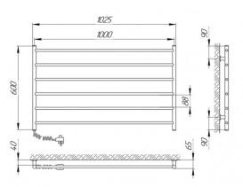 Электрический полотенцесушитель Laris Зебра Горизонт ЧК6 Э 1000x600 мм левый 75201029