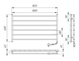 Электрический полотенцесушитель Laris Зебра Горизонт ЧК6 Э 1000x600 мм  правый 75201030