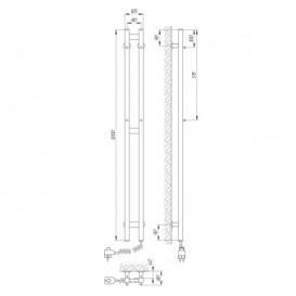 Электрический полотенцесушитель Laris Зебра Дуэт ЧК3 Э 80x1200 мм правый 75201068