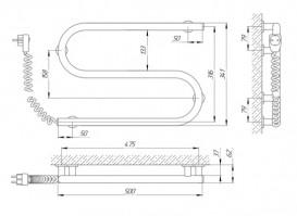 Электрический полотенцесушитель Laris Зебра Змеевик 25 ЧК2 Э 500x330 мм левый 75201017