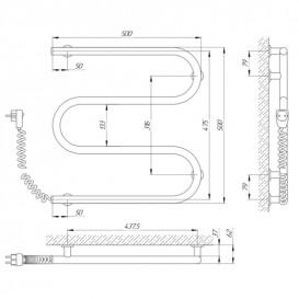 Электрический полотенцесушитель Laris Зебра Змеевик 25 ЧК3 Э 500x500 мм левый 75201019