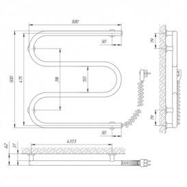Электрический полотенцесушитель Laris Зебра Змеевик 25 ЧК3 Э 500x500 мм правый 75201020