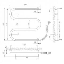 Электрический полотенцесушитель Laris Зебра Змеевик 25 ЧК3 Э 500x500 мм правый 75201038