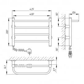 Электрический полотенцесушитель Laris Зебра Прайм ЧК4 Э 400x300 мм левый 75201063